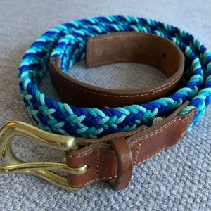 J Crew Blue Woven Leather Belt | Small